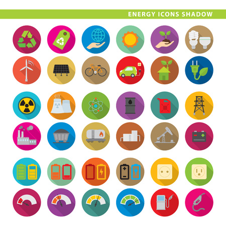 Set of 36 energy icons in flat shadow style.