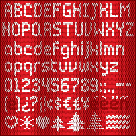 Set of knitted characters for titles and short texts. Vettoriali