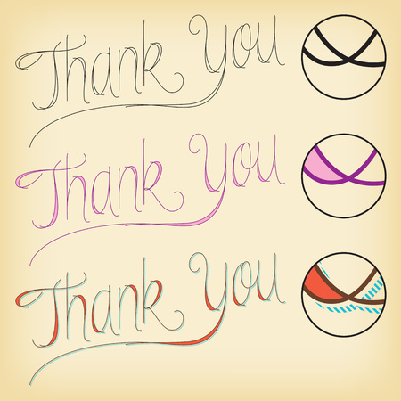 Set of lettering Thank You with three different styles.