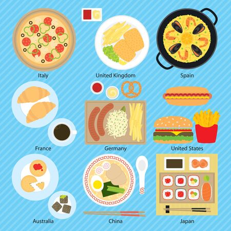 Food for nine countries, Italy, United Kingdom, Spain, France, Germany, United States, USA, Australia, China, Japan. Illustration