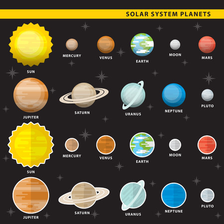 Set of solar system planets in two color styles.