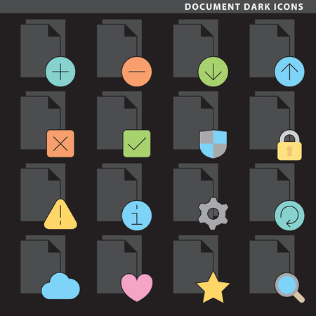 Set of sixteen document icons in flat style. Reklamní fotografie - 86687262