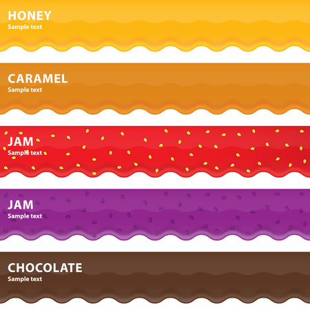 Set of five sweet drips, honey, caramel, jam and chocolate. Illustration