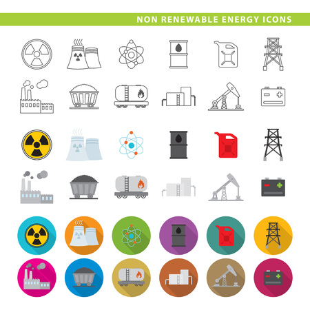 Twelve non renewable energy icons in line, flat and shadow styles. Stock Illustratie
