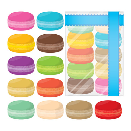 Set of twelve colorful macarons and packaged macarons.
