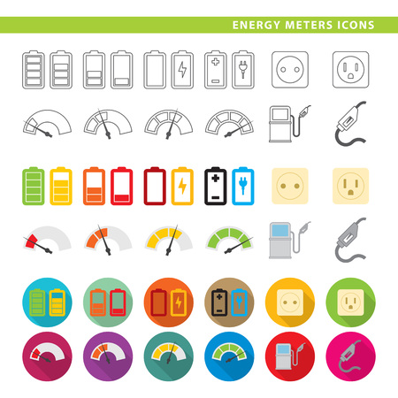 Twelve energy icons in line, flat and shadow styles.