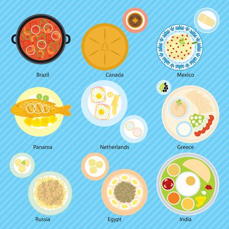 Food for nine countries, Brazil, Canada, Mexico, Panama, Netherlands, Greece, Russia, Egypt, India Ilustração