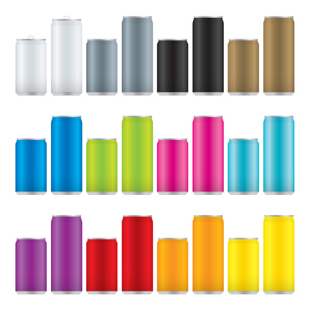 Set of beverage cans in two sizes and twelve colors.