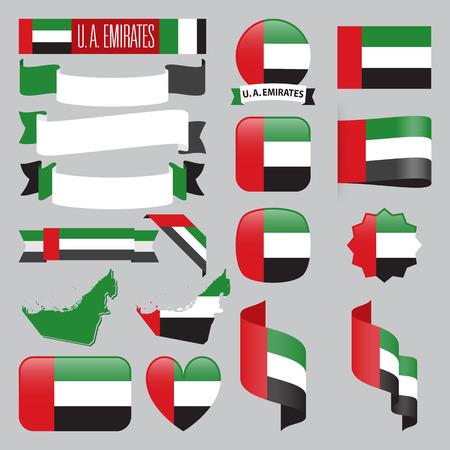 아랍 에미리트지도, 플래그, 리본, 아이콘 및 단추 집합입니다.