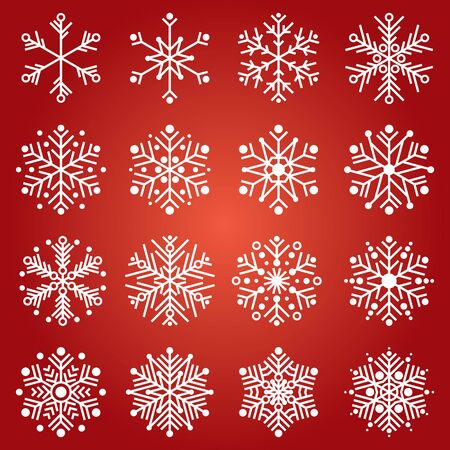Set of 16 snowflakes for Christmas of weather decoration. Ilustracja