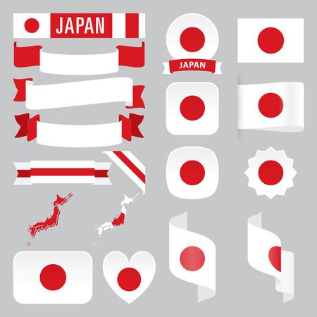Set van Japan kaarten, vlaggen, linten, pictogrammen en knoppen met verschillende vormen.