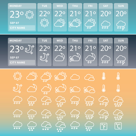 Weather widgets for day and night and set of weather icons.