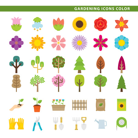 Three sets icons, flowers, trees and gardening tools in color style. Illustration