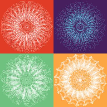 Set of four rossete designs for your creative projects and backgrounds in your publications. Stock fotó