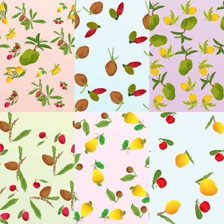 Six different models with tropical fruits done in watercolor that would look like tapestry, textiles paper, as decorative texture. 版權商用圖片