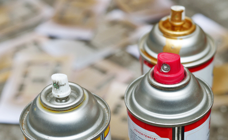 Spray paint photo for your painting projects or tools publications. Stock Photo
