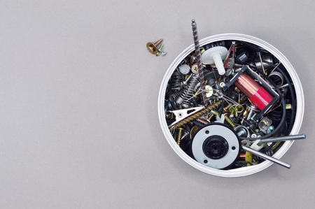 can with little screws Mechanic and electric components for your tech projects or industry publications. Stock Photo