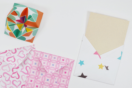 Little decorated envelopes Stock Photo