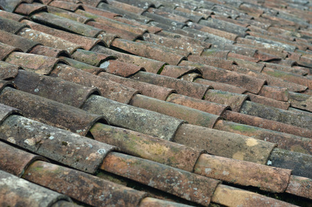Moldy roof tiles of a traditional home in Puebla Mexico.