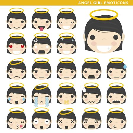 Set of angel girl emoticons with different faces and expressions.