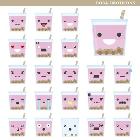 Set of boba tea emoticons with different faces and expressions.