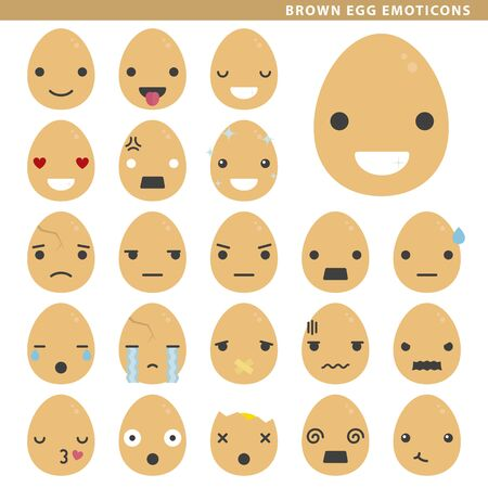 Set of brown egg emoticons with different faces and expressions. Ilustração