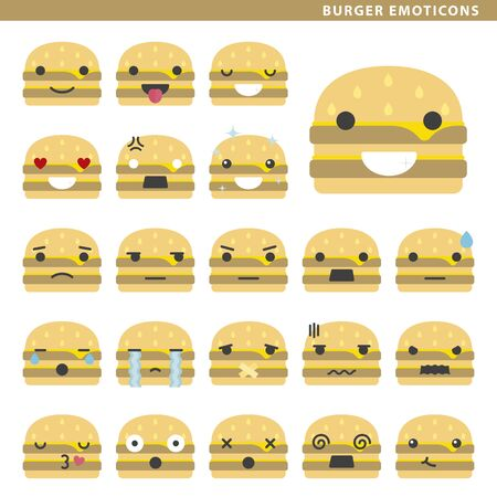 Set of burger emoticons with different faces and expressions.