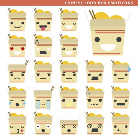 Set of chinese food box emoticons with different faces and expressions.