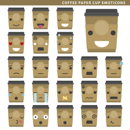 Set of coffee paper cup emoticons with different faces and expressions.