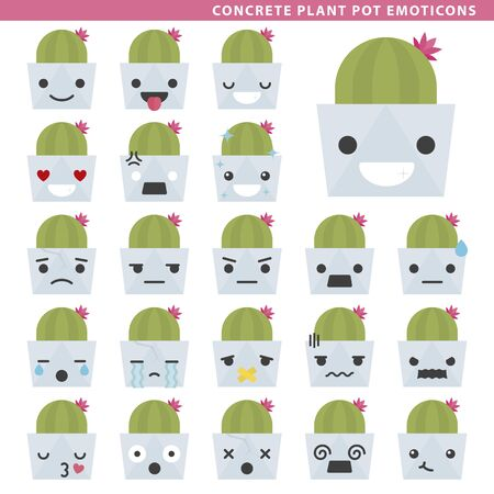 Set of concrete plant pot emoticons with different faces and expressions.