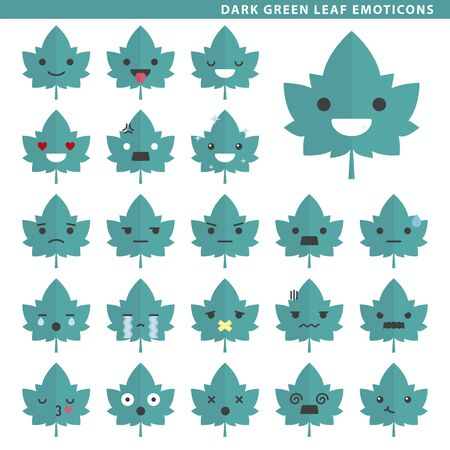 Set of dark green leaf emoticons with different faces and expressions.