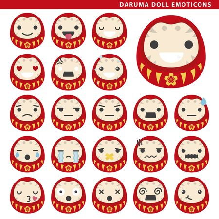 Set of daruma doll emoticons with different faces and expressions.