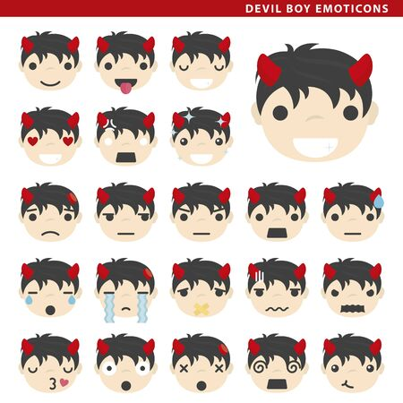 Set of devil boy emoticons with different faces and expressions.