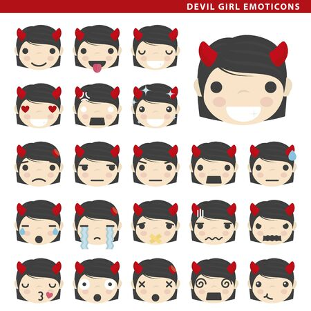 Set of devil girl emoticons with different faces and expressions.