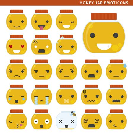Set of honey jar emoticons with different faces and expressions.