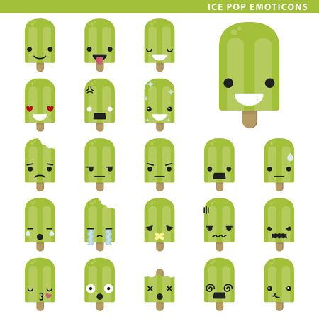 Set of ice pop emoticons with different faces and expressions.