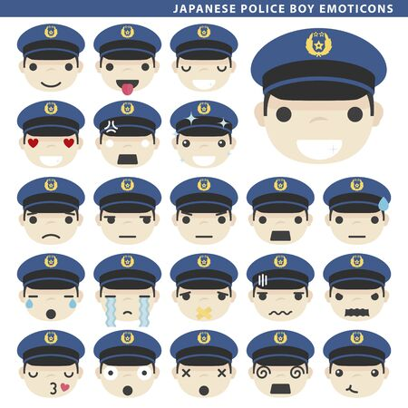 Set of japanese police boy emoticons with different faces and expressions.