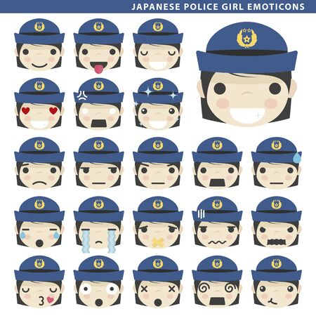 Set of japanese police girl emoticons with different faces and expressions. Ilustração