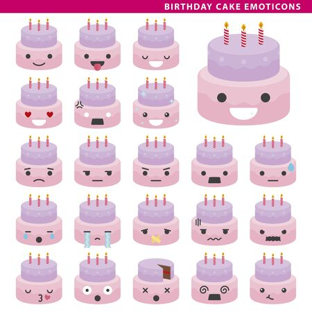 Set of cake emoticons with different faces and expressions. Ilustração