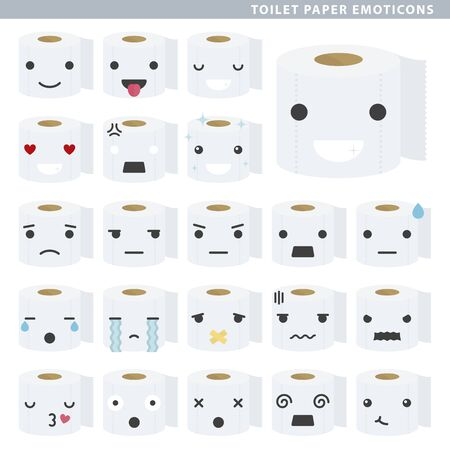 Set of toilet paper emoticons with different faces and expressions.