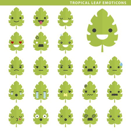 Set of tropical leaf emoticons with different faces and expressions.