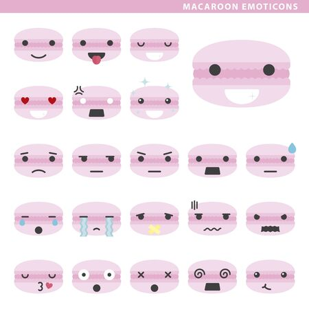 Set of macaroon emoticons with different faces and expressions. 矢量图像
