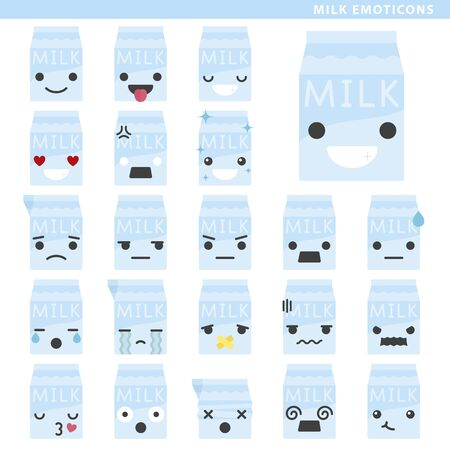 Set of milk emoticons with different faces and expressions. Ilustração