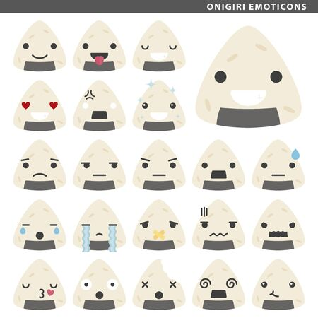 Set of onigiri emoticons with different faces and expressions.