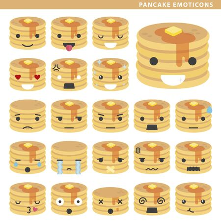 Set of pancake emoticons with different faces and expressions.