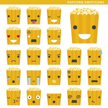 Set of popcorn emoticons with different faces and expressions.