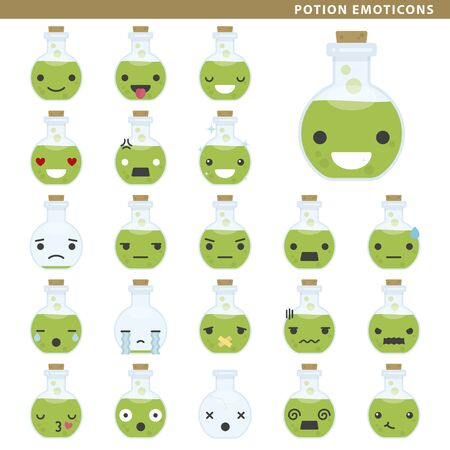 Set of potion emoticons with different faces and expressions. Ilustração