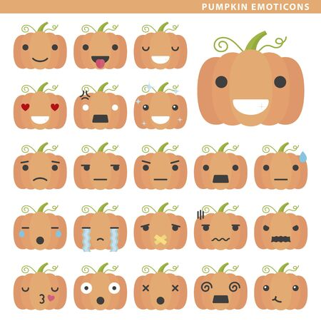 Set of pumpkin emoticons with different faces and expressions.