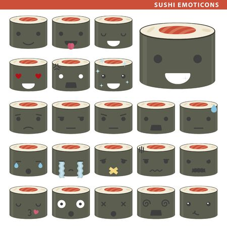 Set of sushi emoticons with different faces and expressions. Ilustração