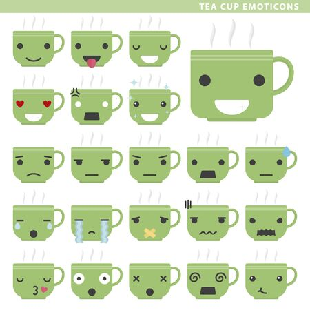 Set of tea cup emoticons with different faces and expressions.